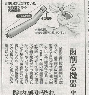 歯の切削機器使い回し関連のその後:7月2日読売新聞様より