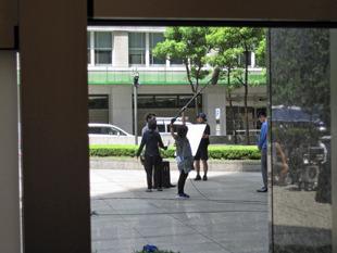 偶然、院内からTVドラマのロケを見ました
