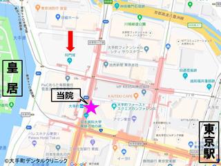 東京大手町にある平将門塚の場所を示す地図