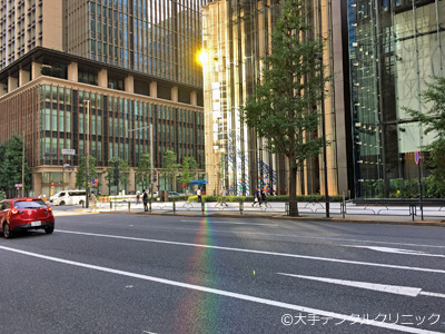丸の内、大手町で虹が見える場所